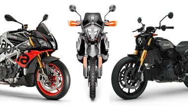 Aprilia Tuono V4 1100 Factory, KTM 790 Adventure R und Indian FTR 1200.