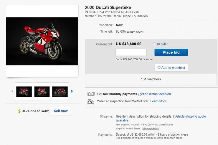 Ducati versteigert Panigale V4 25 Anniversario 916: Erlös geht an Carlin Dunne-Foundation
