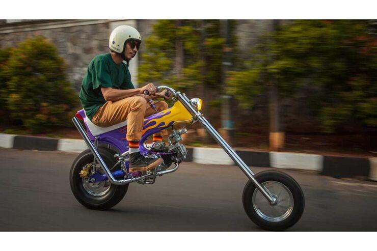 Honda Dax als Langgabler-Umbau: Baby-Chopper vorne steif und hinten starr