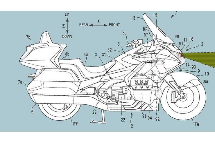 Honda Gold Wing mit Abstandstempomat: Patent zeigt Radarsystem-Einbau