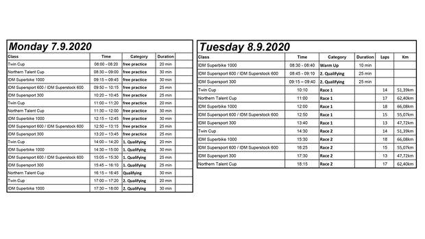 IDM 2020 Zeitplan Sachsenring 2020