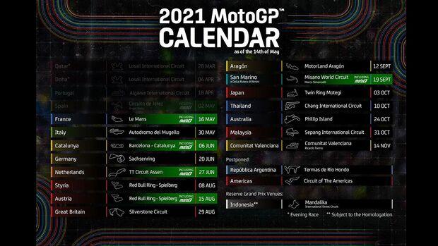 MotoGP Kalender 2021 Update Mai