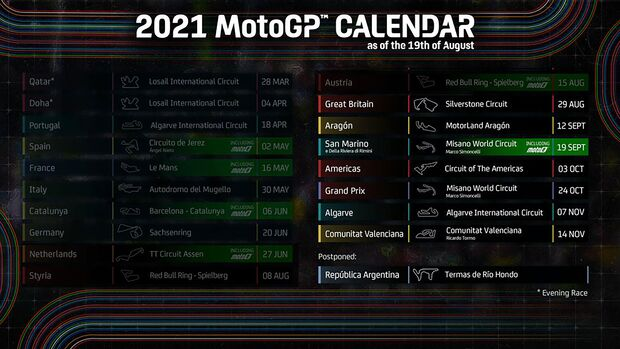 MotoGP Kalender August 2021