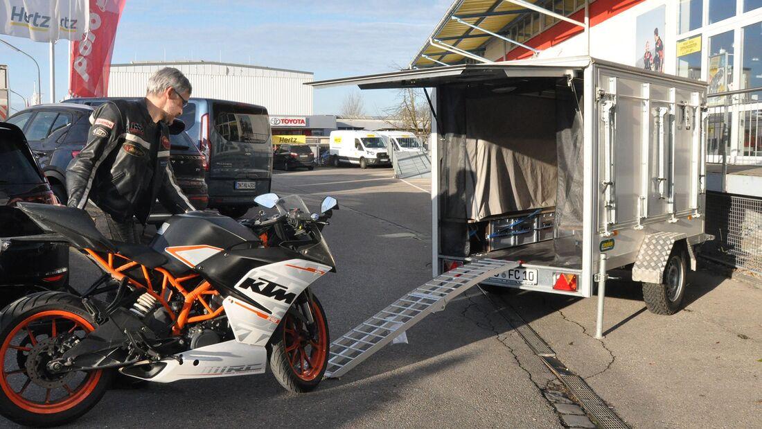 Motorradtransport, Motorradcamper, Caravan, Farfalla, Faltcaravan, Camping