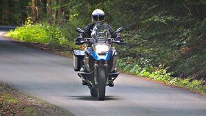 Polizeimotorrad der Polizei Hessen.