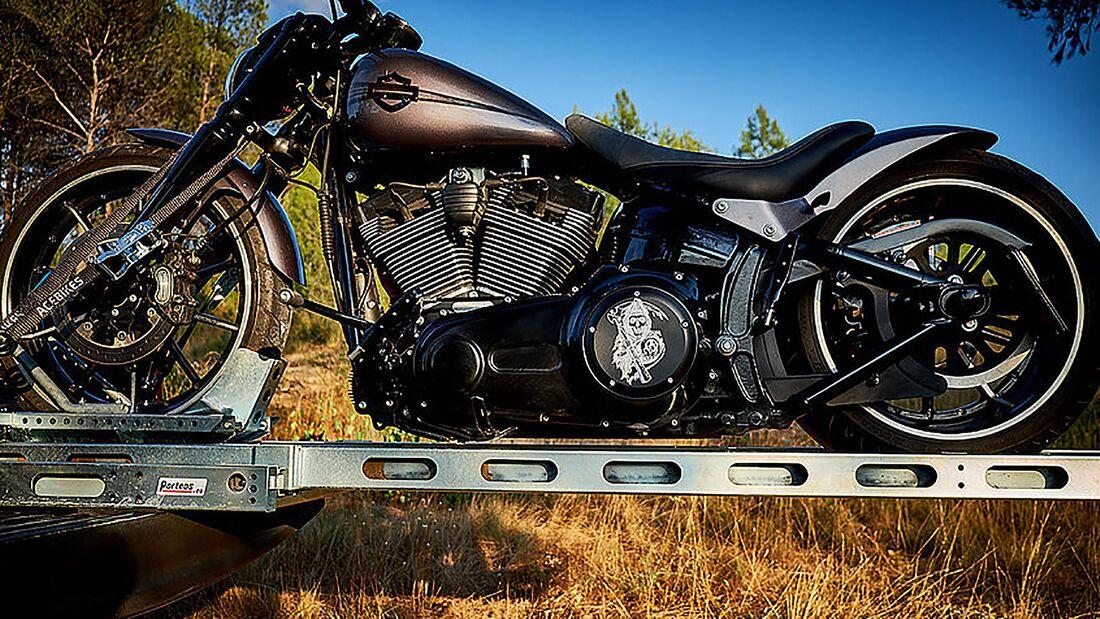 Porteos Motorradverladesystem Teleskop Rampe