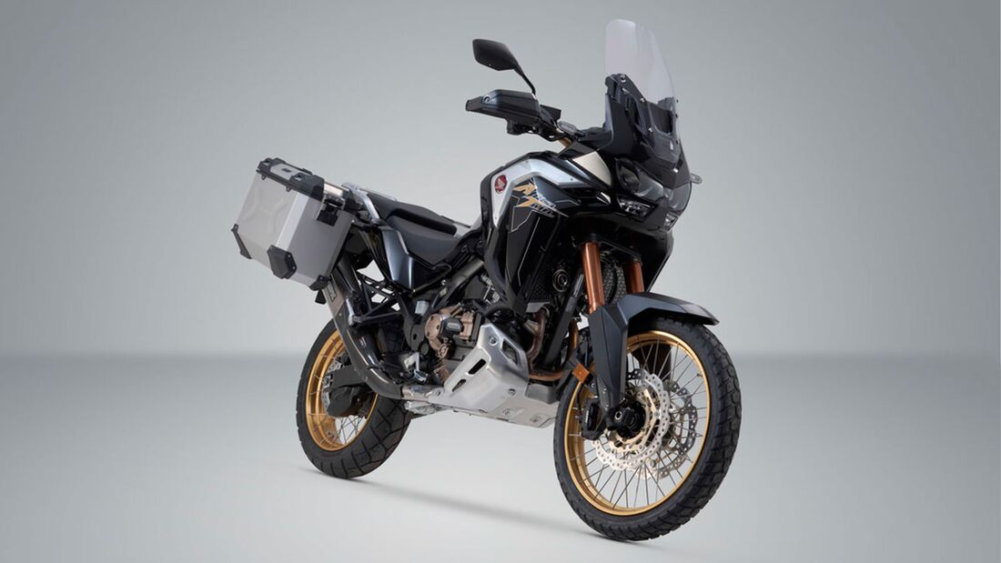 SW-Motech Alukoffer Set Akrapovic Auspuff TRAX ADV Silber 45 37 l Honda CRF 1100 L und Adv Sports