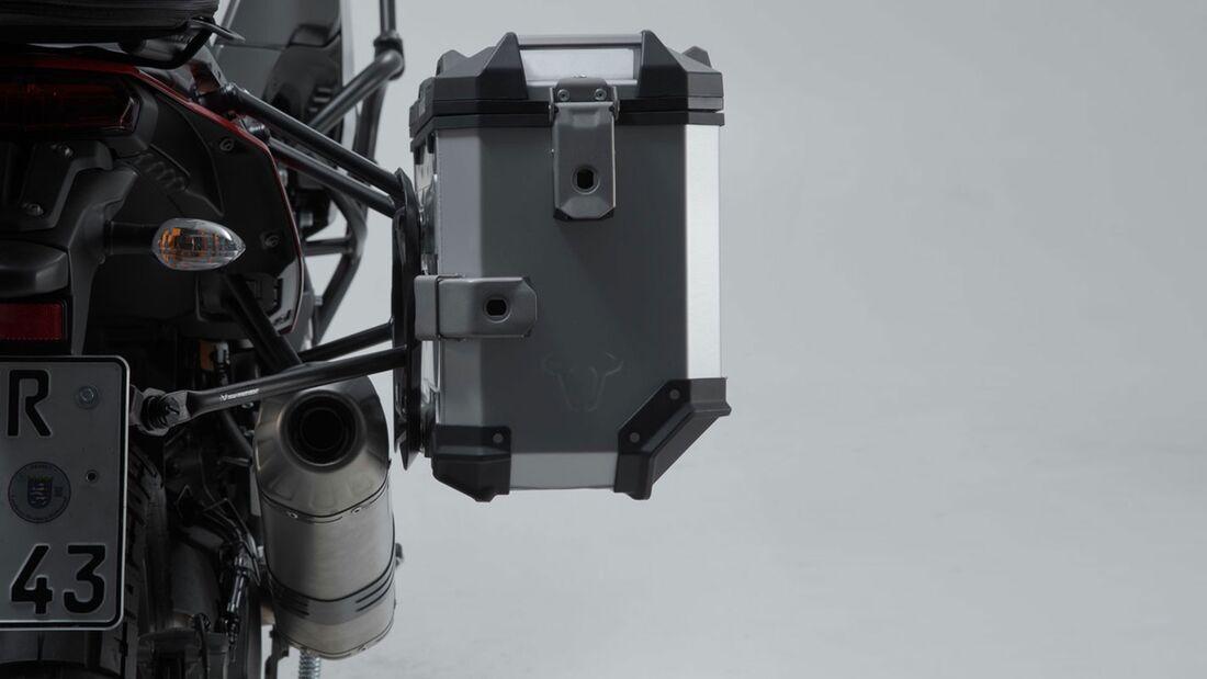 SW-Motech Alukoffer Set Akrapovic Auspuff TRAX ADV Silber 45 45 l Yamaha Tenere 706