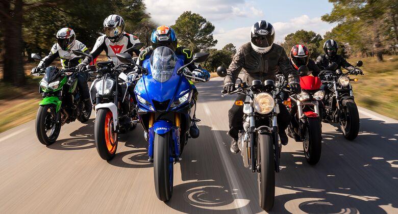 Sechs 48-PS-Motorräder im Vergleichstest.