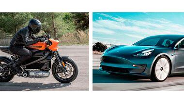 Tesla gegen Harley