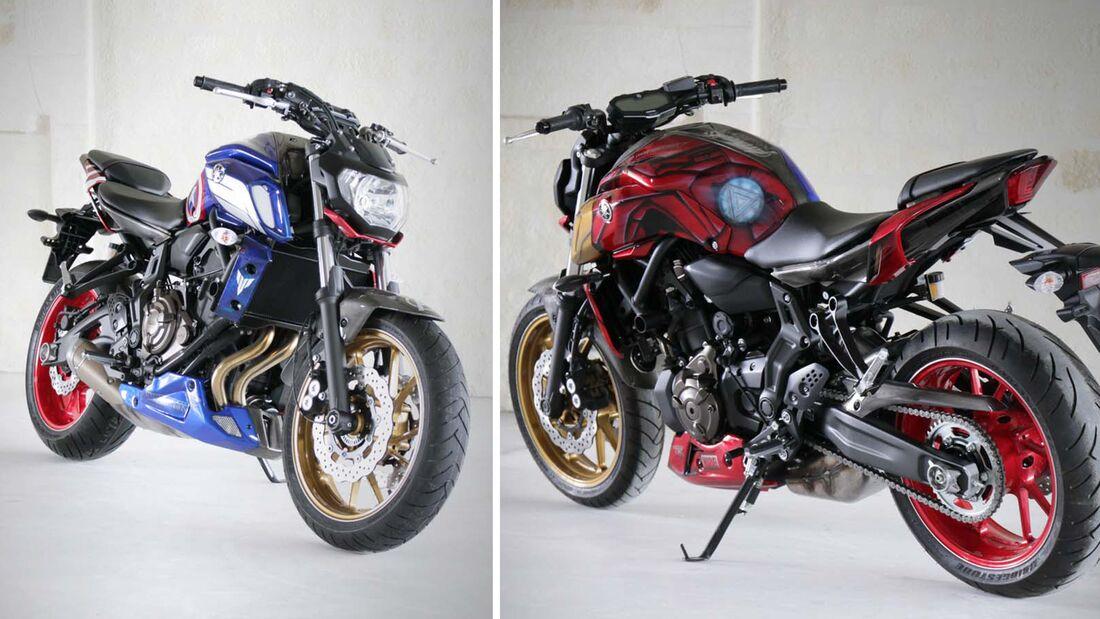 """Yamaha MT-07 """"Iron Man"""" und """"Captain America"""" von AD Koncept."""