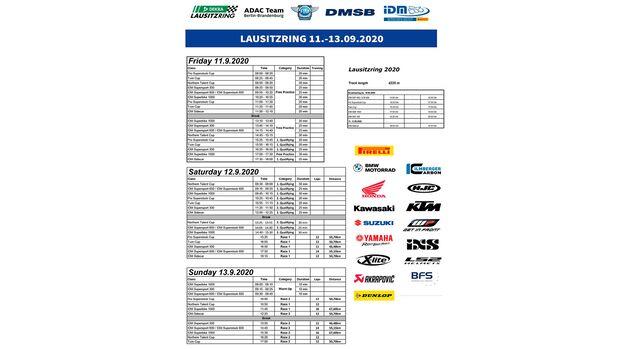 Zeitplan Timetable IDM Lausitz 2020
