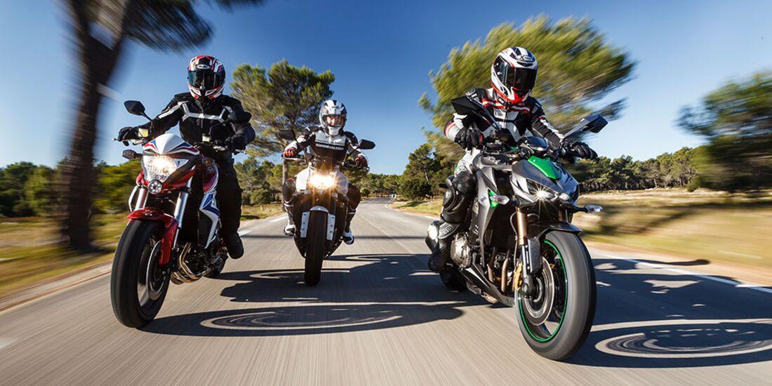 Honda CB 1000 R, Kawasaki Z 1000 SE, Yamaha FZ1 im Test ... on